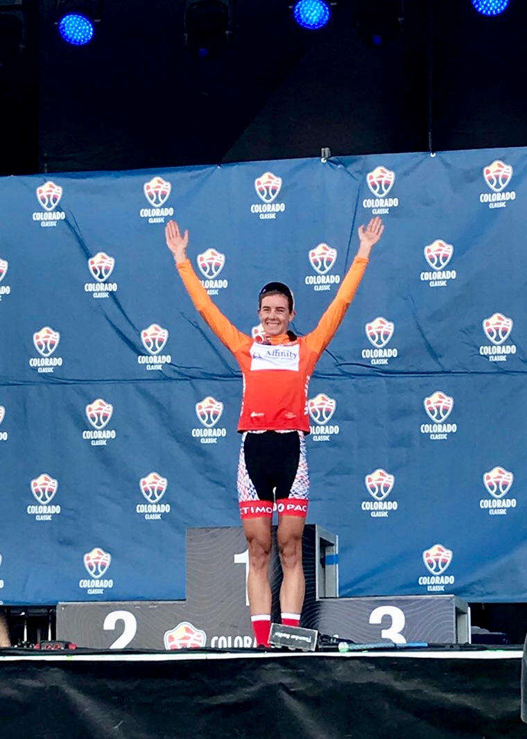 Leigh Ann Ganzar grabs the Most Aggressive jersey; stage 3, Colorado Classic.