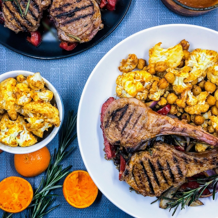 Lamb Chops, Roasted Cauliflower, Chickpeas with Chipote Date Sauce