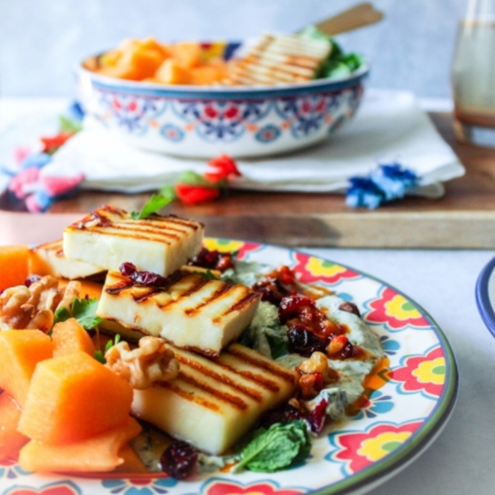 Grilled Paneer and Melon Salad with Yogurt Dressing