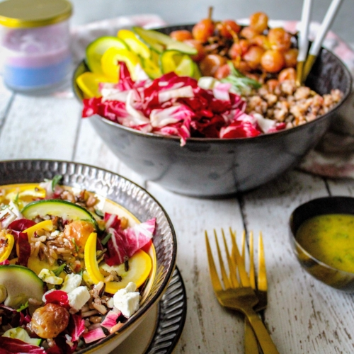 Gluten free wild rice salad with grapes and tarragon dressing