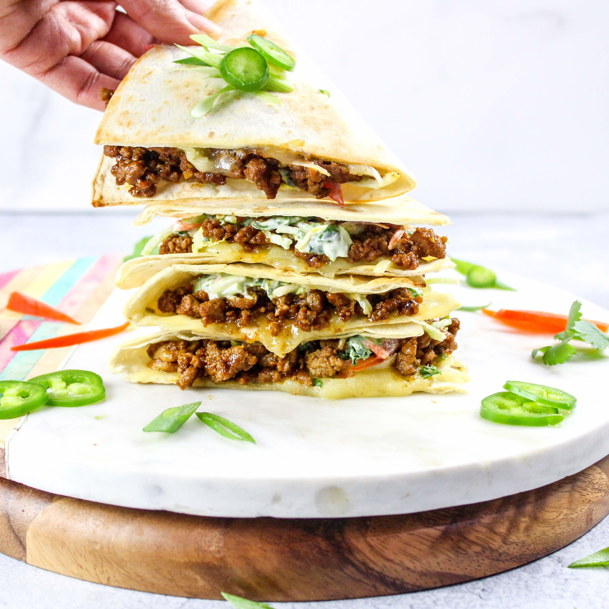 Weeknight Barbecue Quesadilla with Herb Slaw