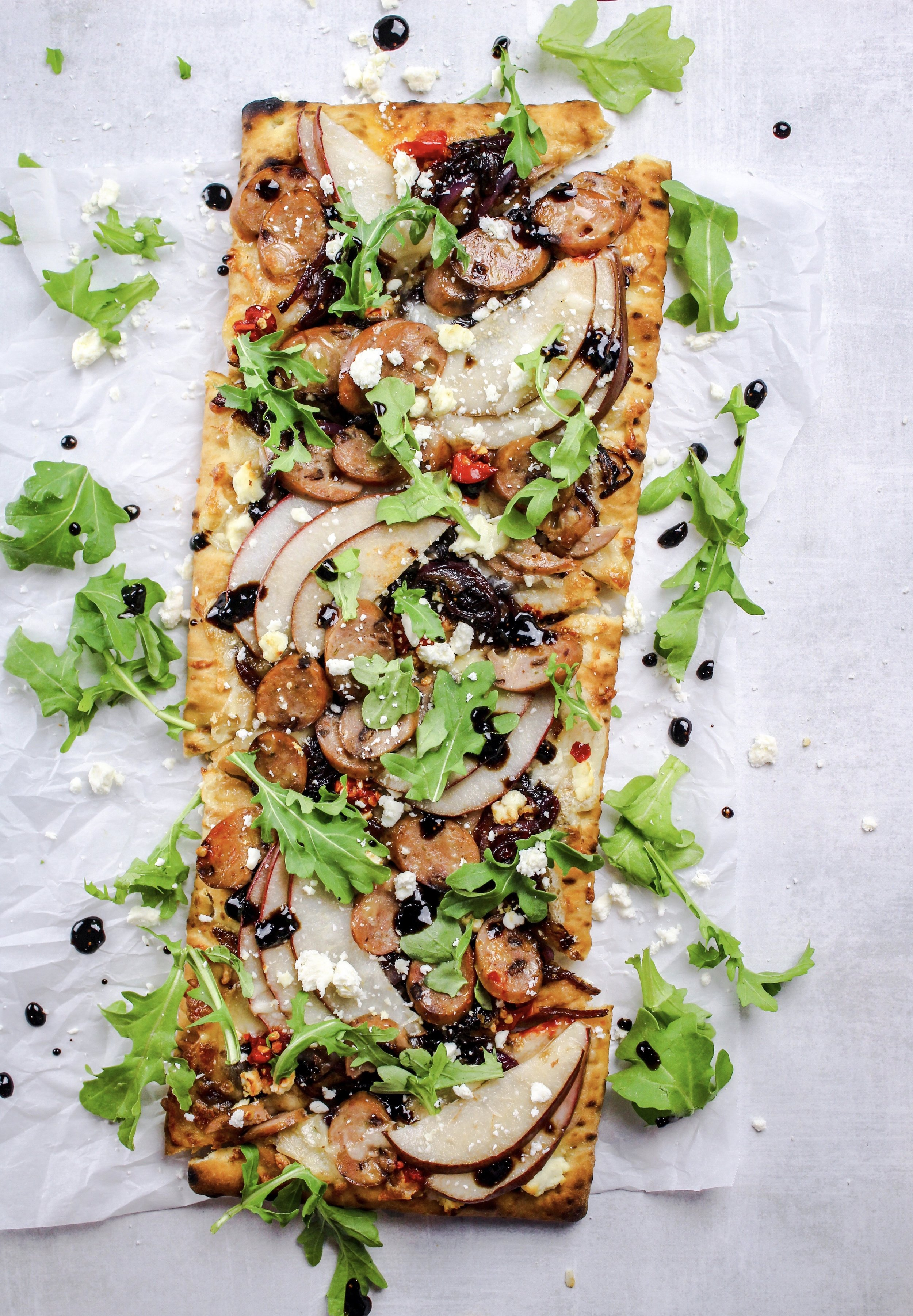 Fig and Feta Chicken Flatbread with Pears and Fig Balsamic