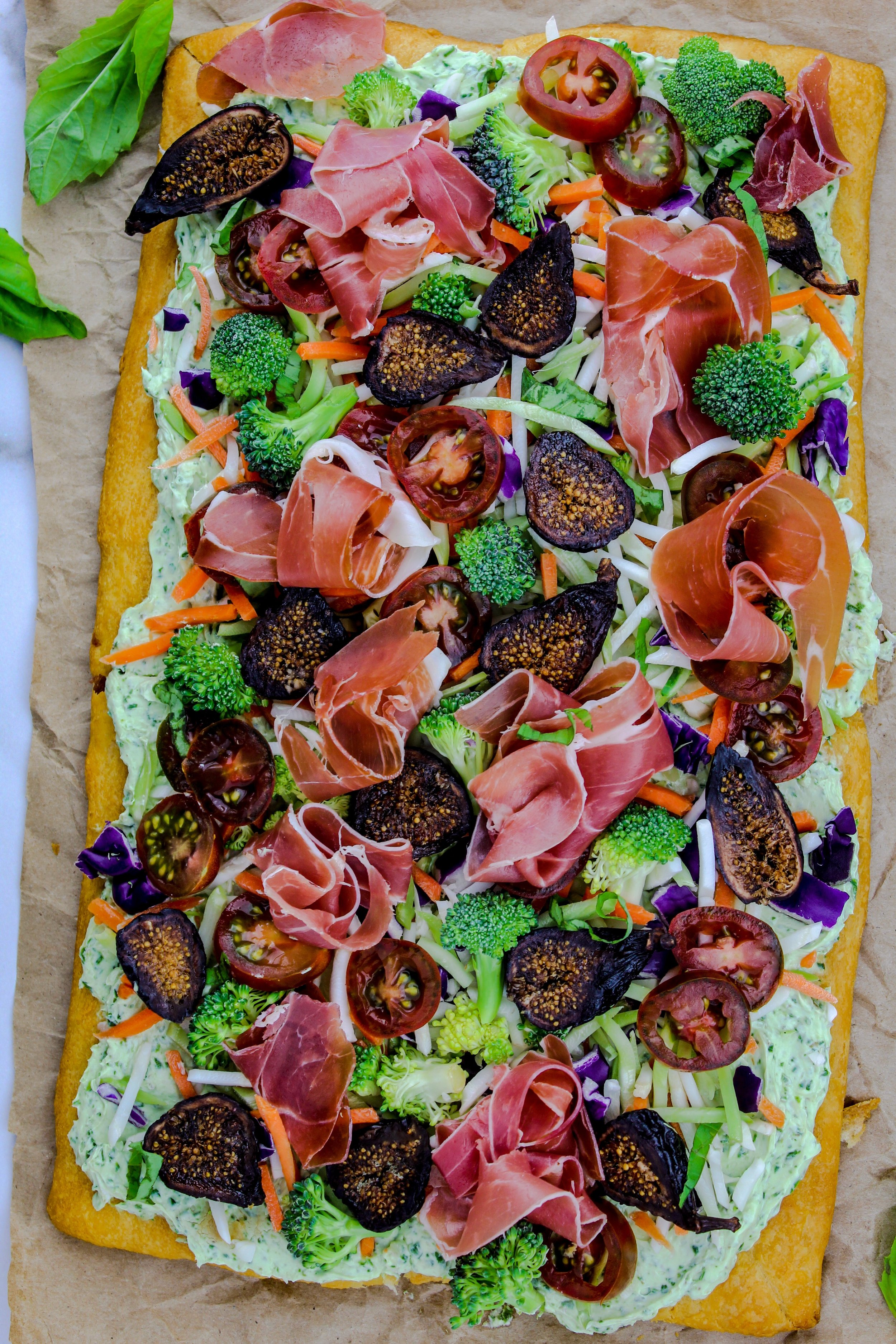 Crescent Roll Pizza with Fig and Prosciutto