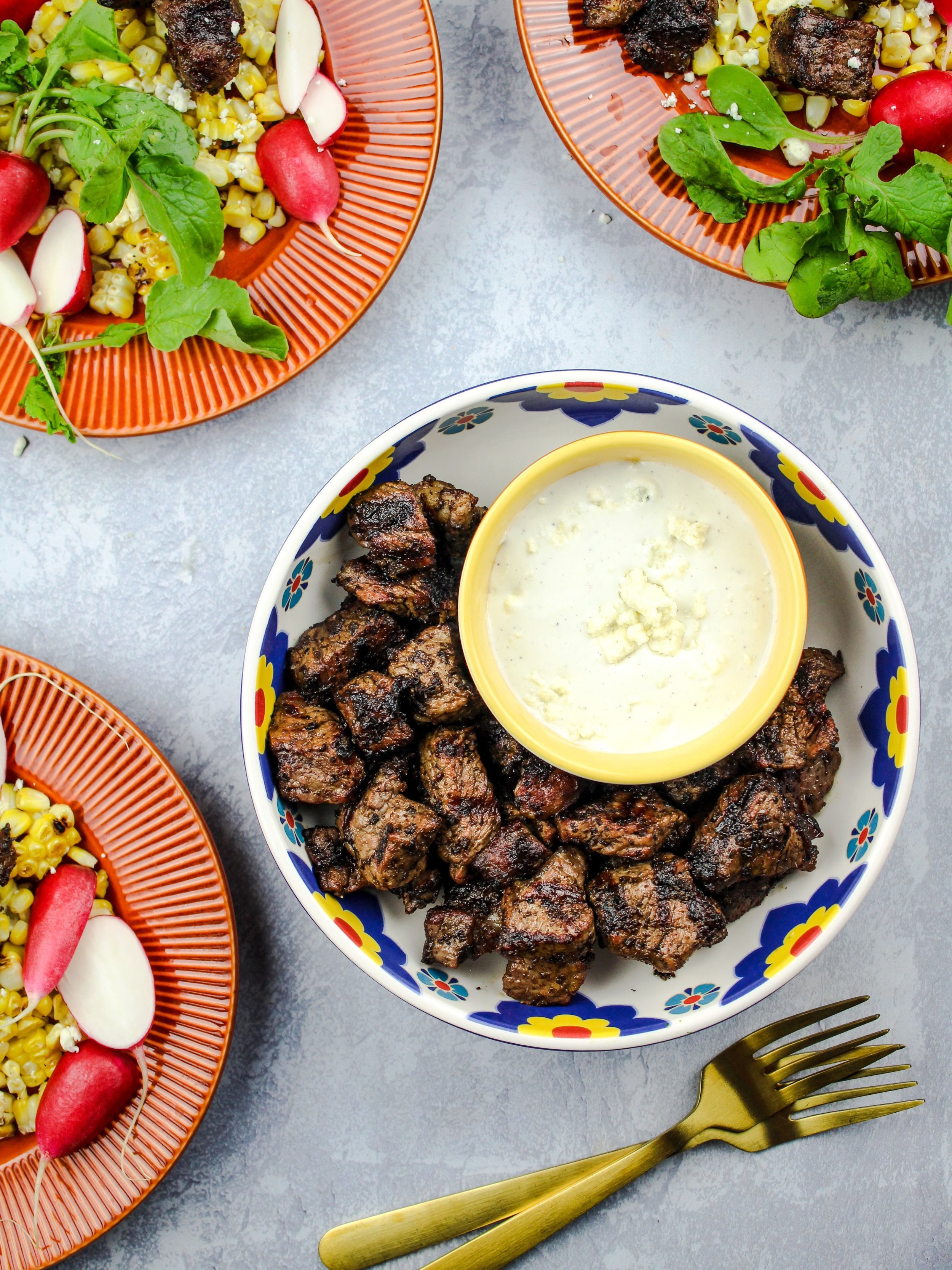 Grilled Steak bites with truffle butter and gorgonzola cheese