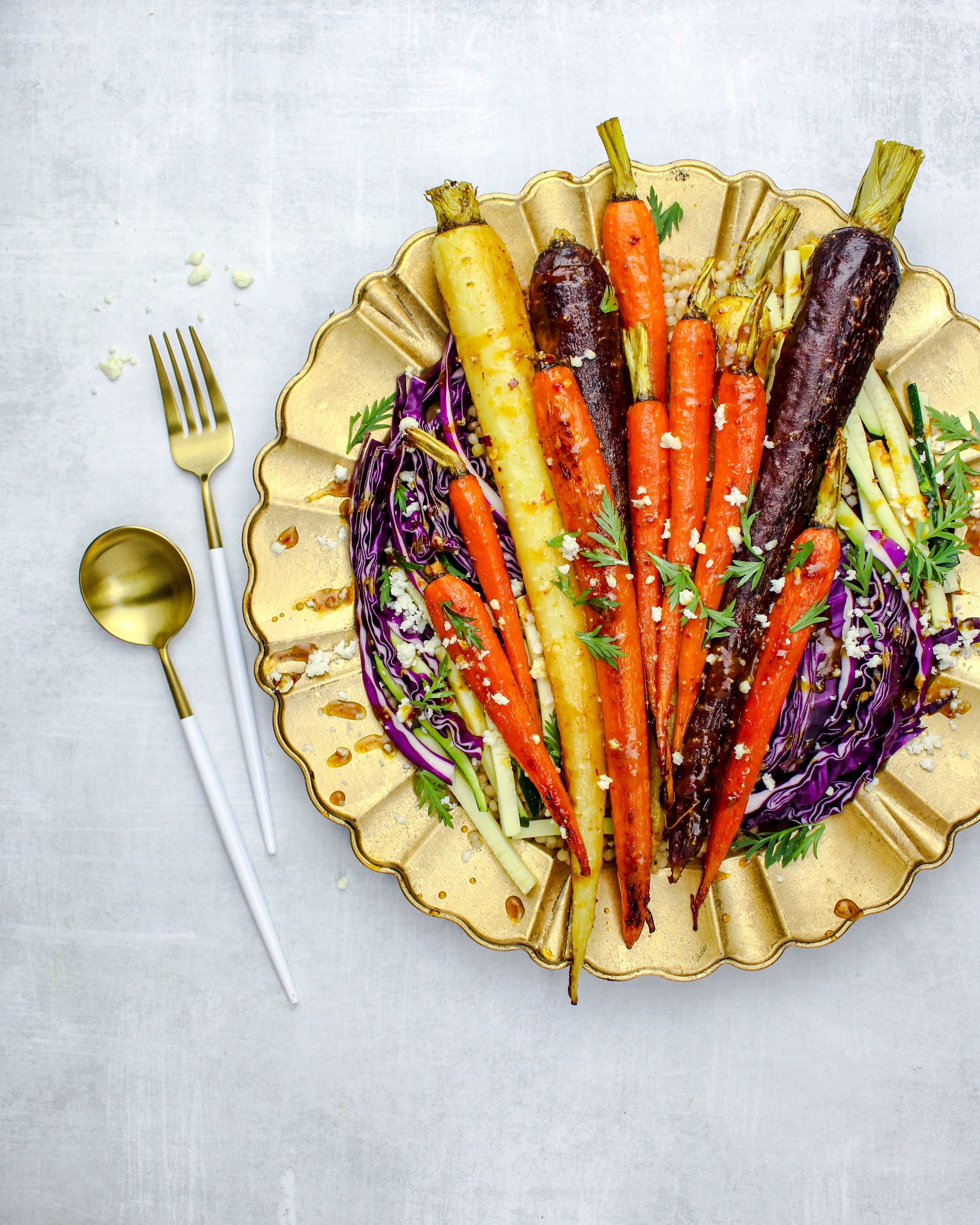 Roasted Rainbow Carrots with Chili Fig and Curry