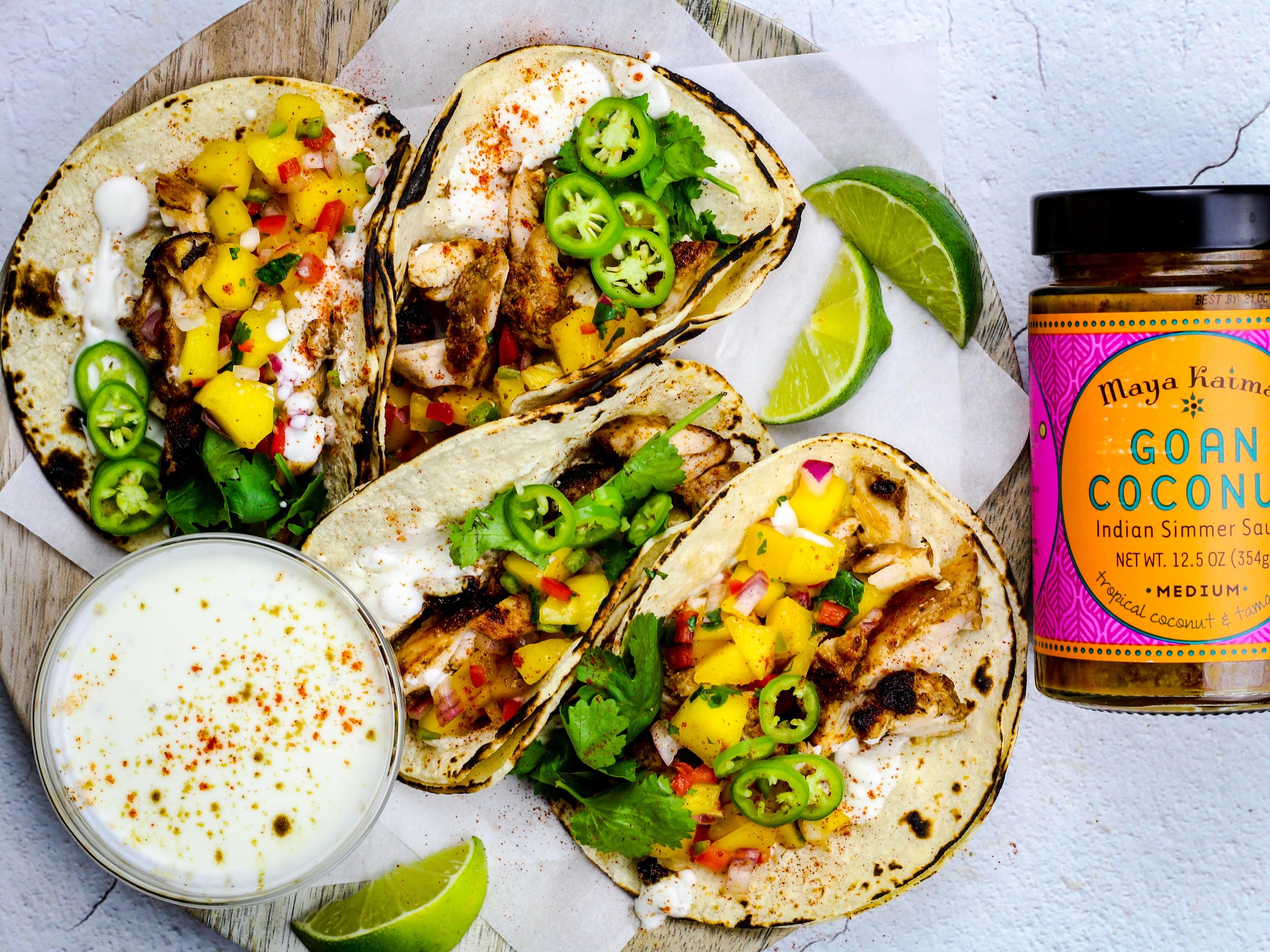 Easiest Coconut Curry Chicken Tacos and Mango Salsa