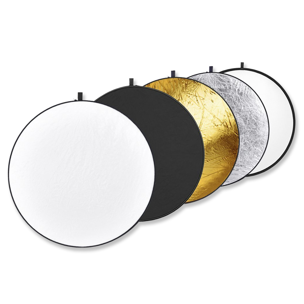 5 in 1 Reflector  -  Amazon    Bounces light with the white/silver/gold sides. Cuts with the black, center is diffusion. Must have modifier.