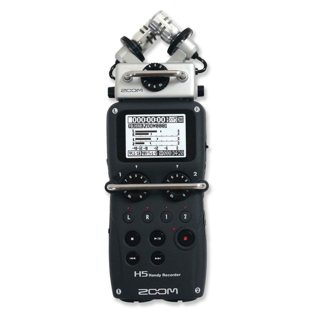 """Zoom H5 Portable Recorder  -  Amazon   2 XLR and 1/4"""" inputs, stereo mics on top. Great all-around recorder."""