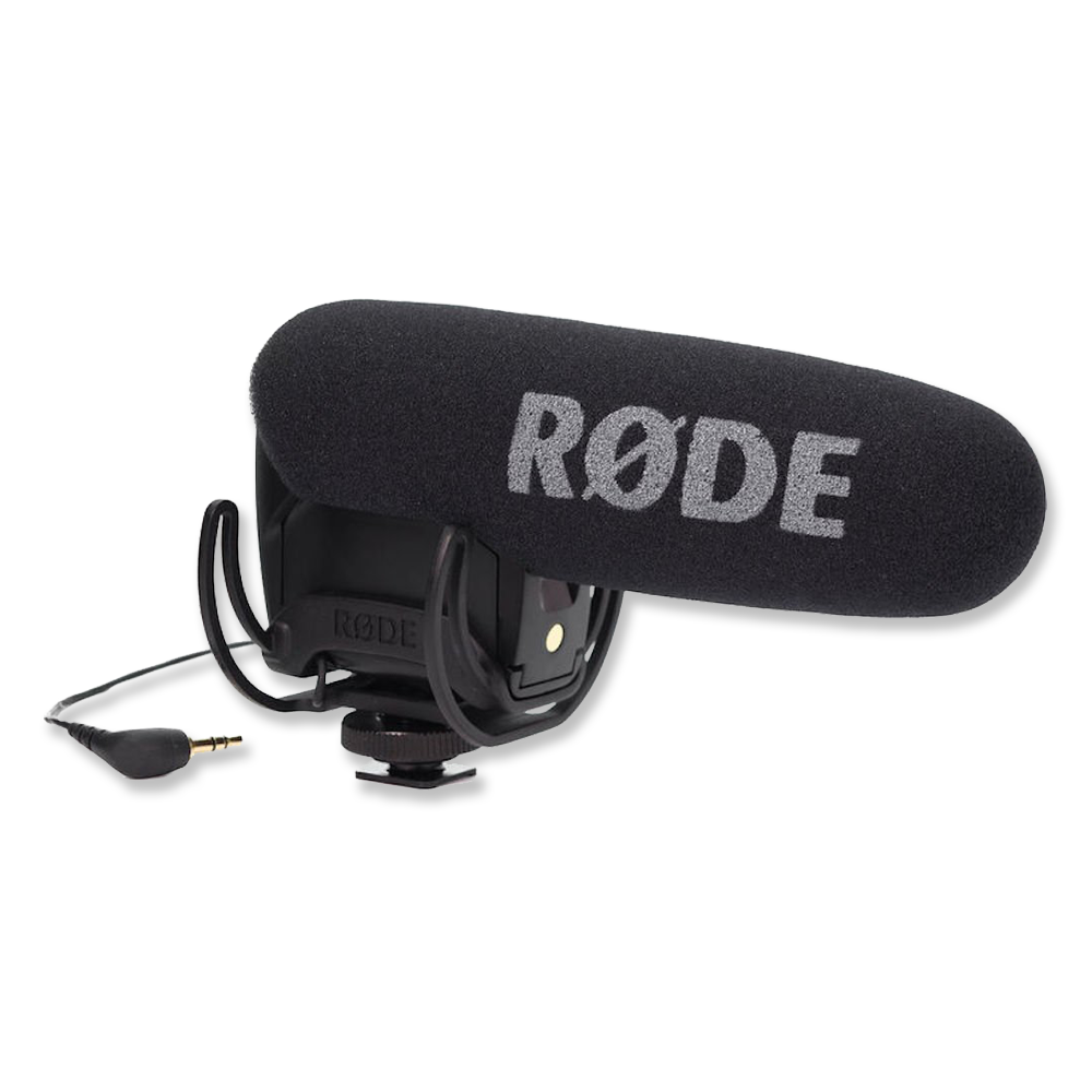 Rode Videomic Pro  -  Amazon   Shoe mounted microphone for great-sounding camera audio.