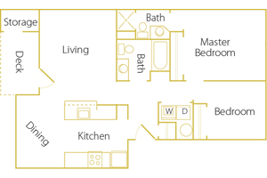 2 bed/ 2 bath - Rent $1195/mo952 sq. feet