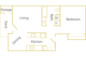 1 bed/ 1 bath - Rent $995/mo728 sq. feet