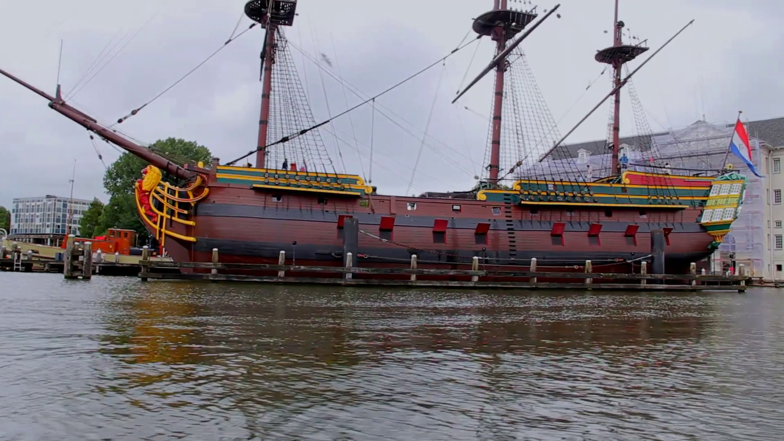 "A replica 1700s   trading   ship, used for trading by a   private   corporation. The red flaps are not decorative: as in nature & Eve Online, ""Red Means Dead"""