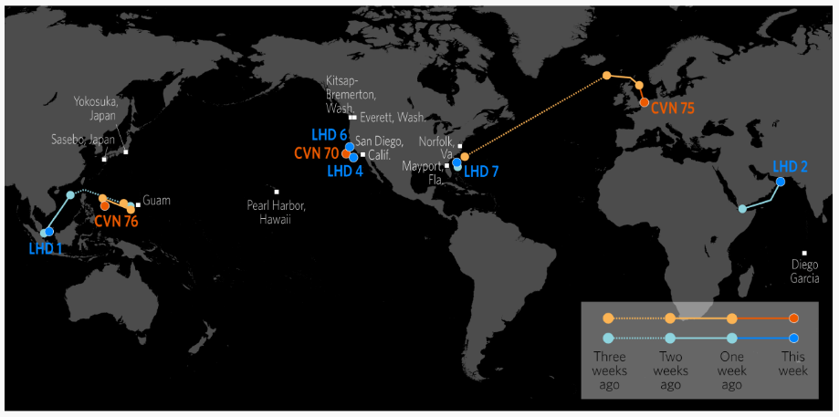 This map shows the accurate locations  of U.S. Carrier Strike Groups and Amphibious Ready Groups. It's publicly available and updated weekly, because what's the point of having a Big Swinging Navy if you don't tell people about it?