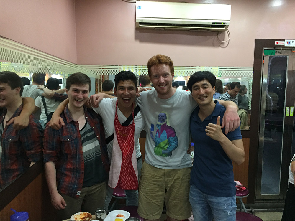 Christian (3rd from left) with his friends at a hostel in Seoul. Read his blog  here .