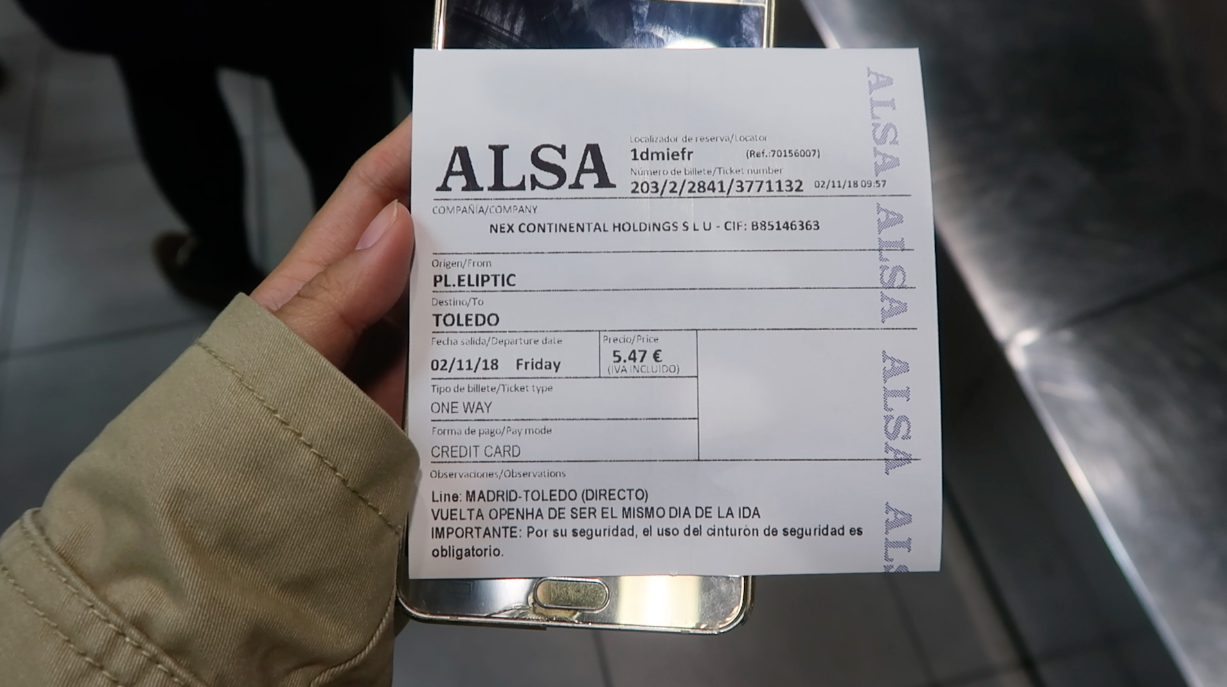 Bus ticket to Toledo from Madrid