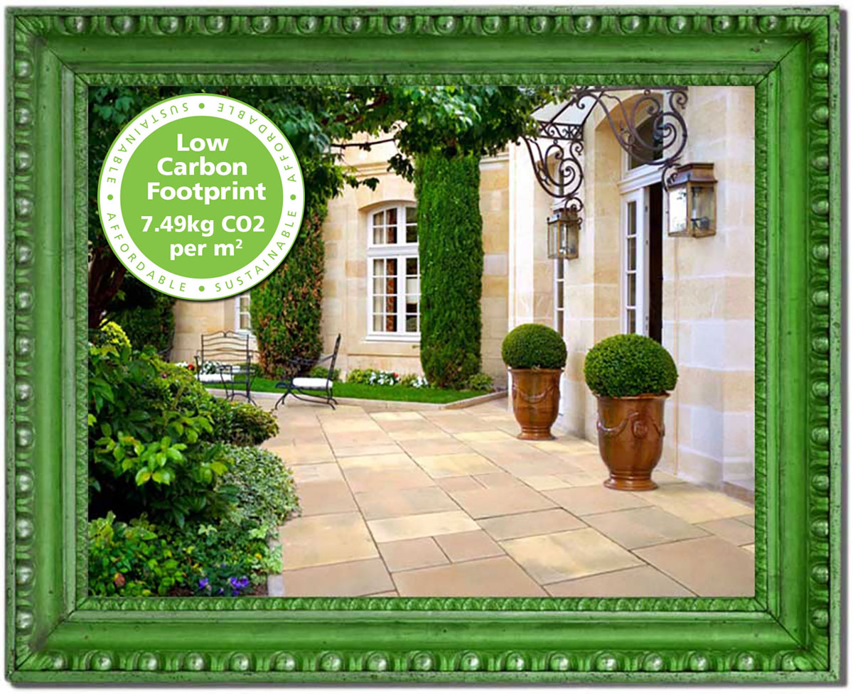 Applegarth - Applegarth is an environmentally friendly, manufactured concrete product. Its gently undulating surface and subtle, random colour variation (reminiscent of worn limestone) makes it an ideal alternative to natural stone. With 35% of its raw material content coming from recycled, local sources and its extremely low carbon footprint, Applegarth is both sustainable and affordable.