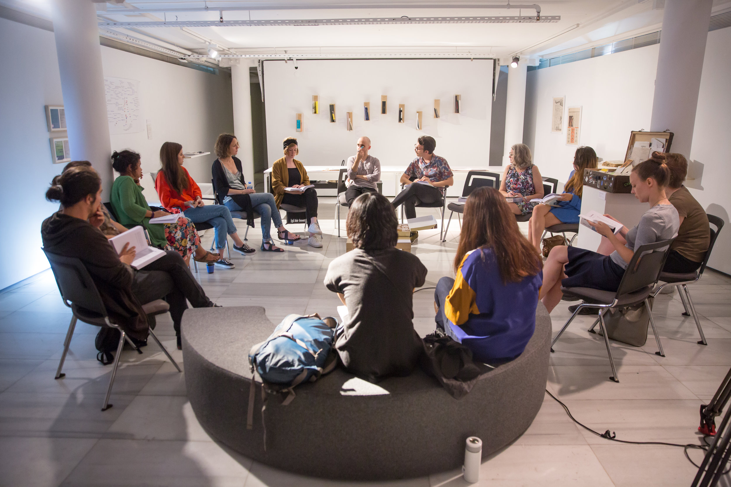 Photos from the first gathering of Collective Çukurcuma reading group as part of the public program of the 15th Istanbul Biennial. On September 21, 2017. Moderated by Serhat Cacekli and featuring Zeyno Pekünlü, artist and coordinator of the public program of the biennial, and Sofie Krogh Christensen, assistant curator of the biennial.  (Photos By Fatih Küçük)