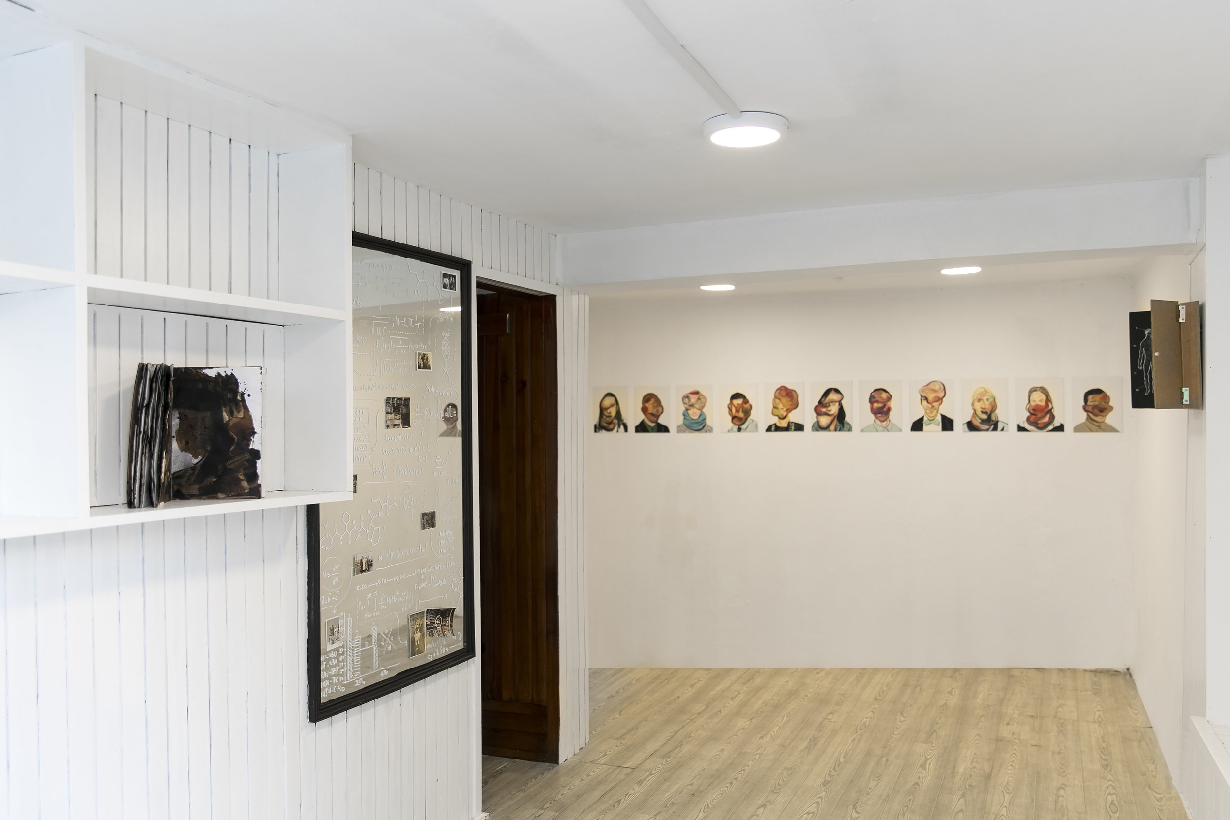 Sabo's paintings and drawings narrate a fictive story by transforming the house it is located in.
