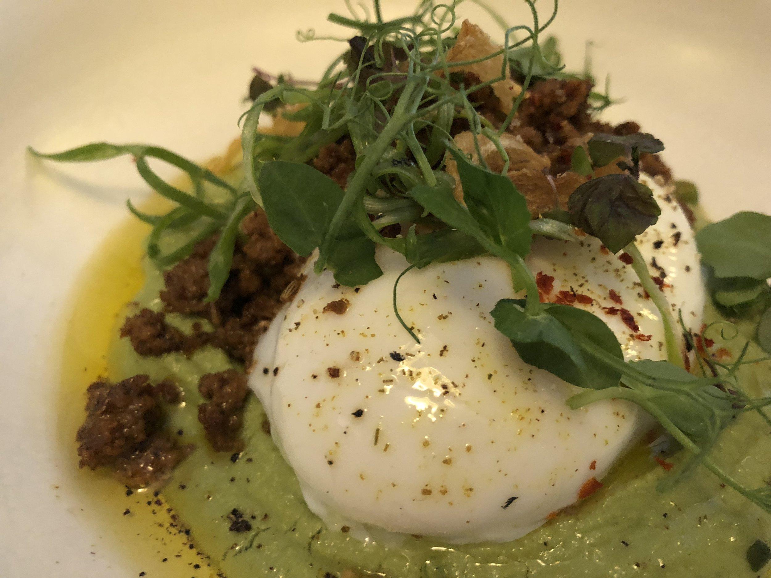 Spring pea hummus & eggs, lamb merguez