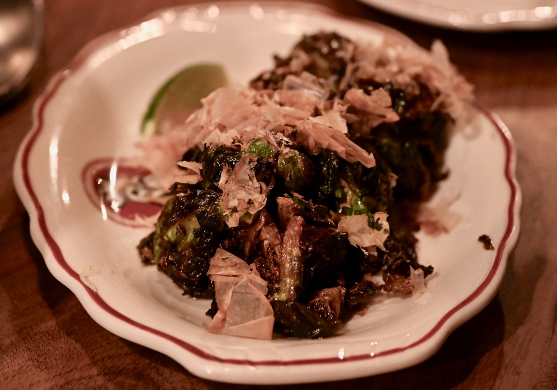 Cockscomb: Brussel Sprouts with gochuchang topped with bonito.