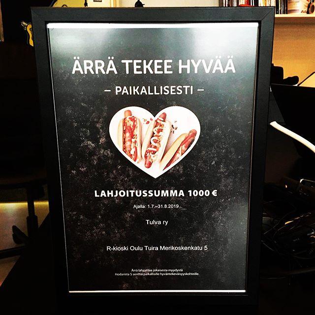 Syyskuun alussa oululaisen kulttuuriyhdistyksen sähköpostiin kilahti viesti Merikoskenkadun R-Kioskilta. Viestin sisältö oli erittäin myönteinen ja tuli ilmi, että R-Kioski lahjoittaisi Tulvan toimintaan 1000€. Summa muodostui kampanjasta, jossa jokaisesta myydystä hotdogista lahjoitettiin viisi senttiä hyväntekeväisyyteen. Lue koko juttu osoitteesta tulvamedia.fi  @rkioski #rkioski #tuira #merikoski #hyväntekeväisyys #tulvamedia #oulu