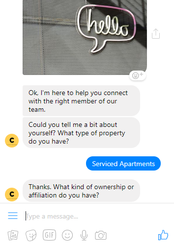 Above: a chatbot powered by Facebook Messenger