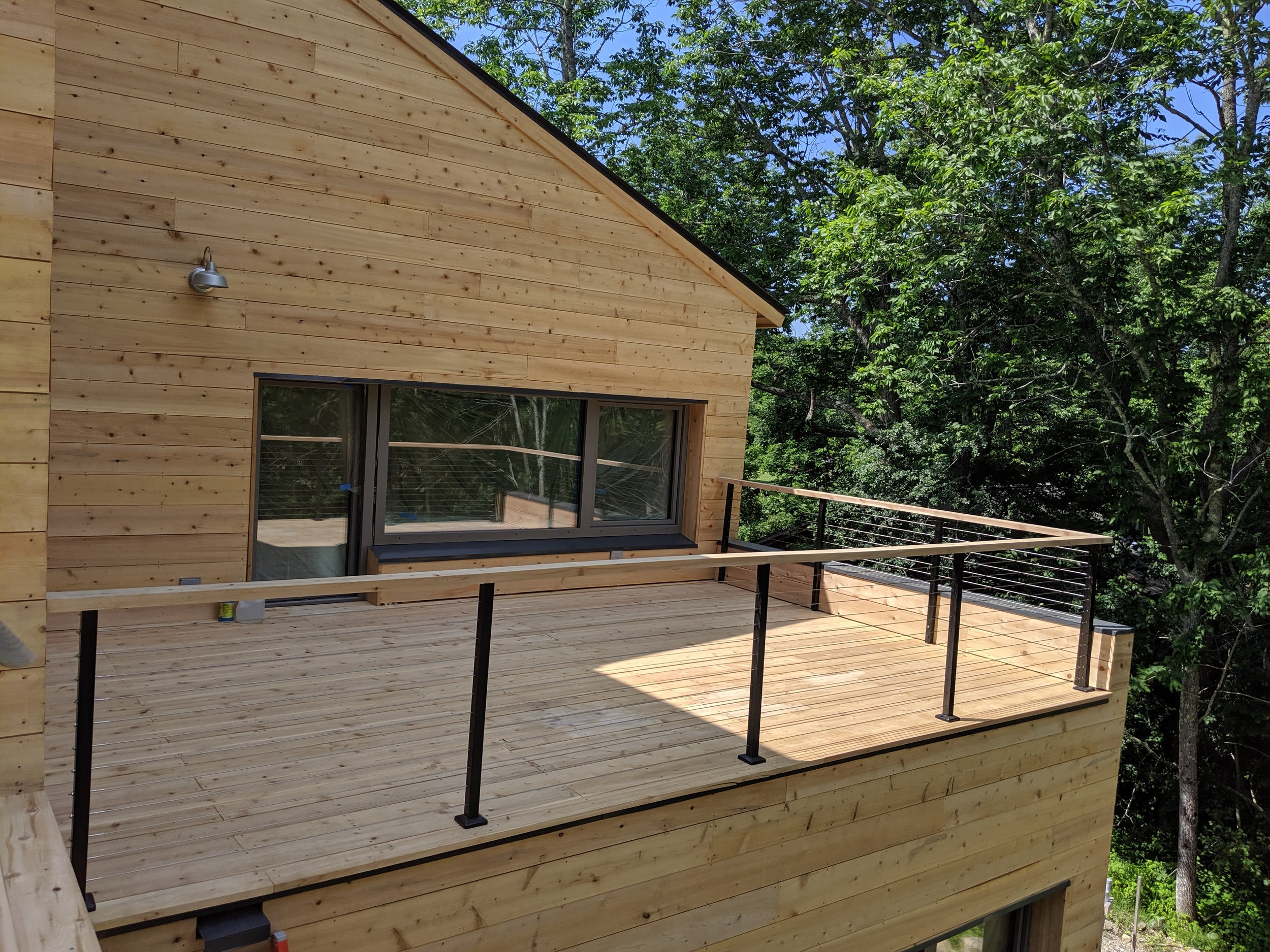 Custom Cedar Deck with Cable Rail