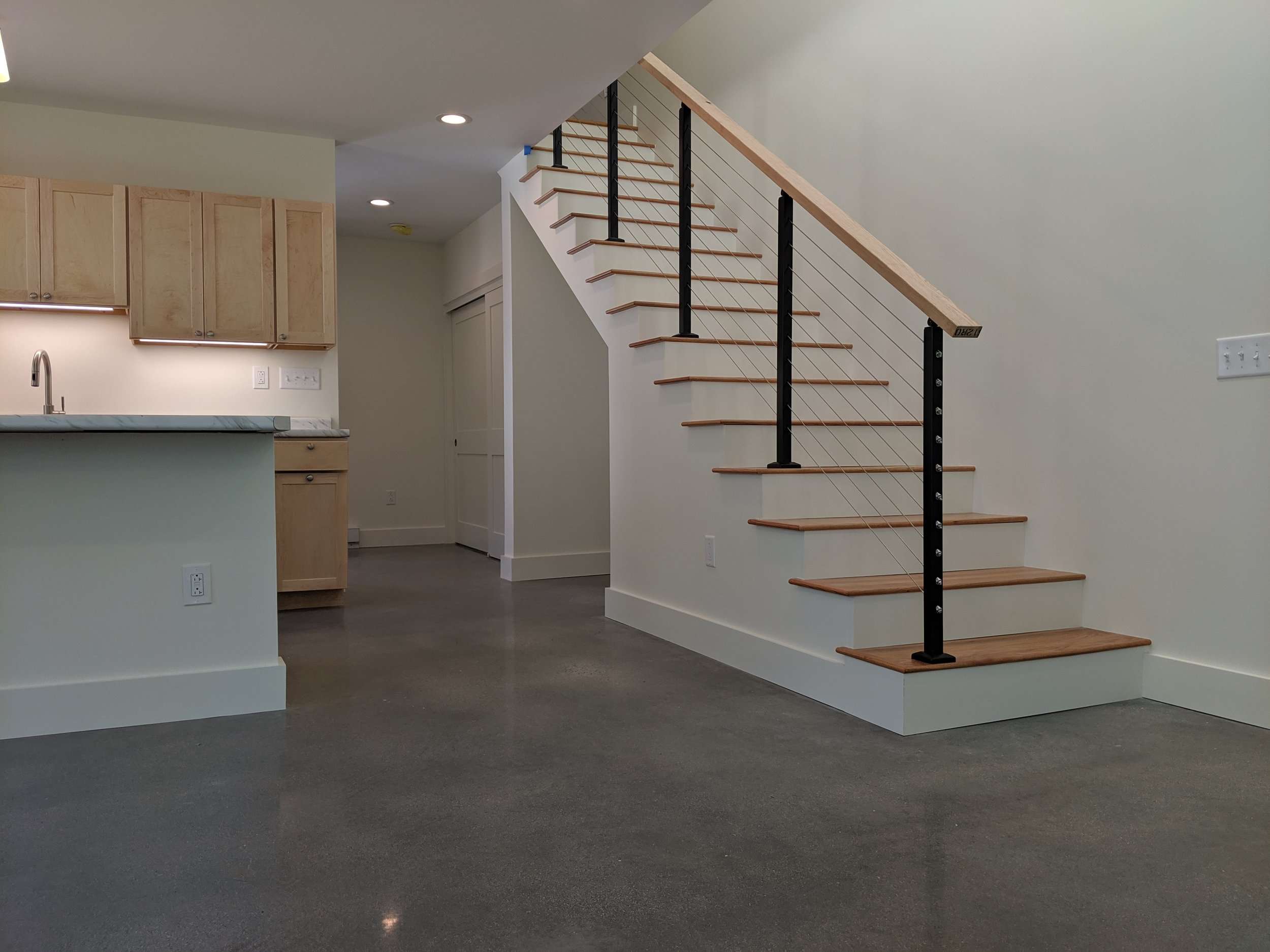 Polished Concrete Floors, Cable Rail, Open Concept Kitchen