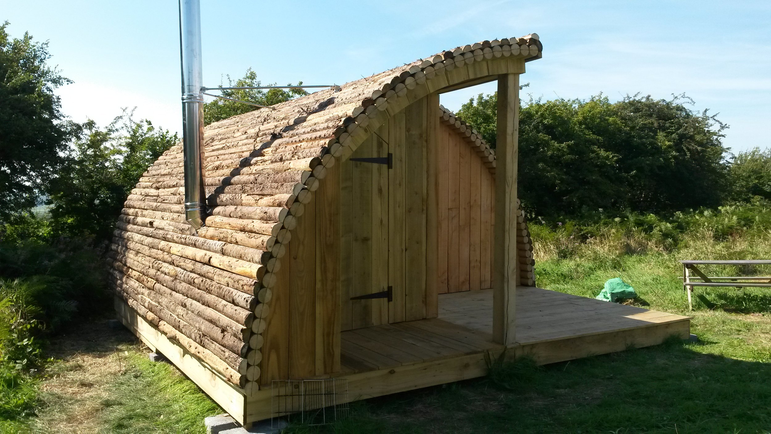 log cladding glamping pods