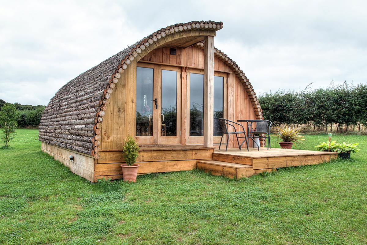 oak frame log cabin glamping pod