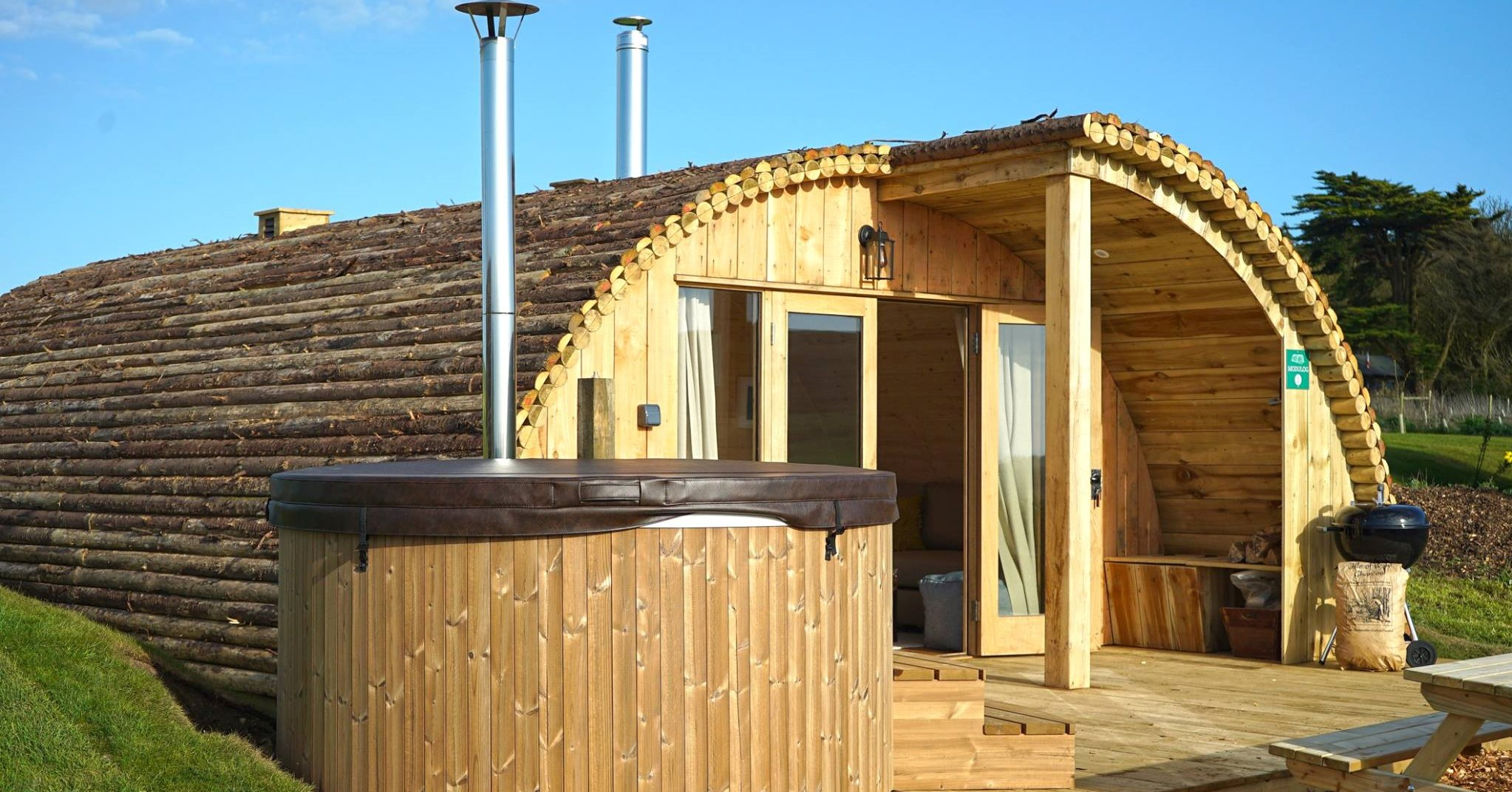 luxury glamping pod with hot tub