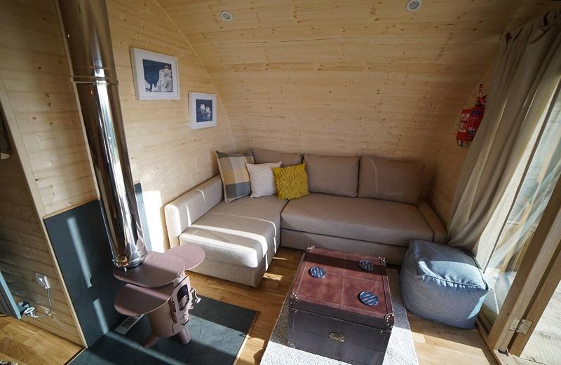 glamping pod lounge sofa bed