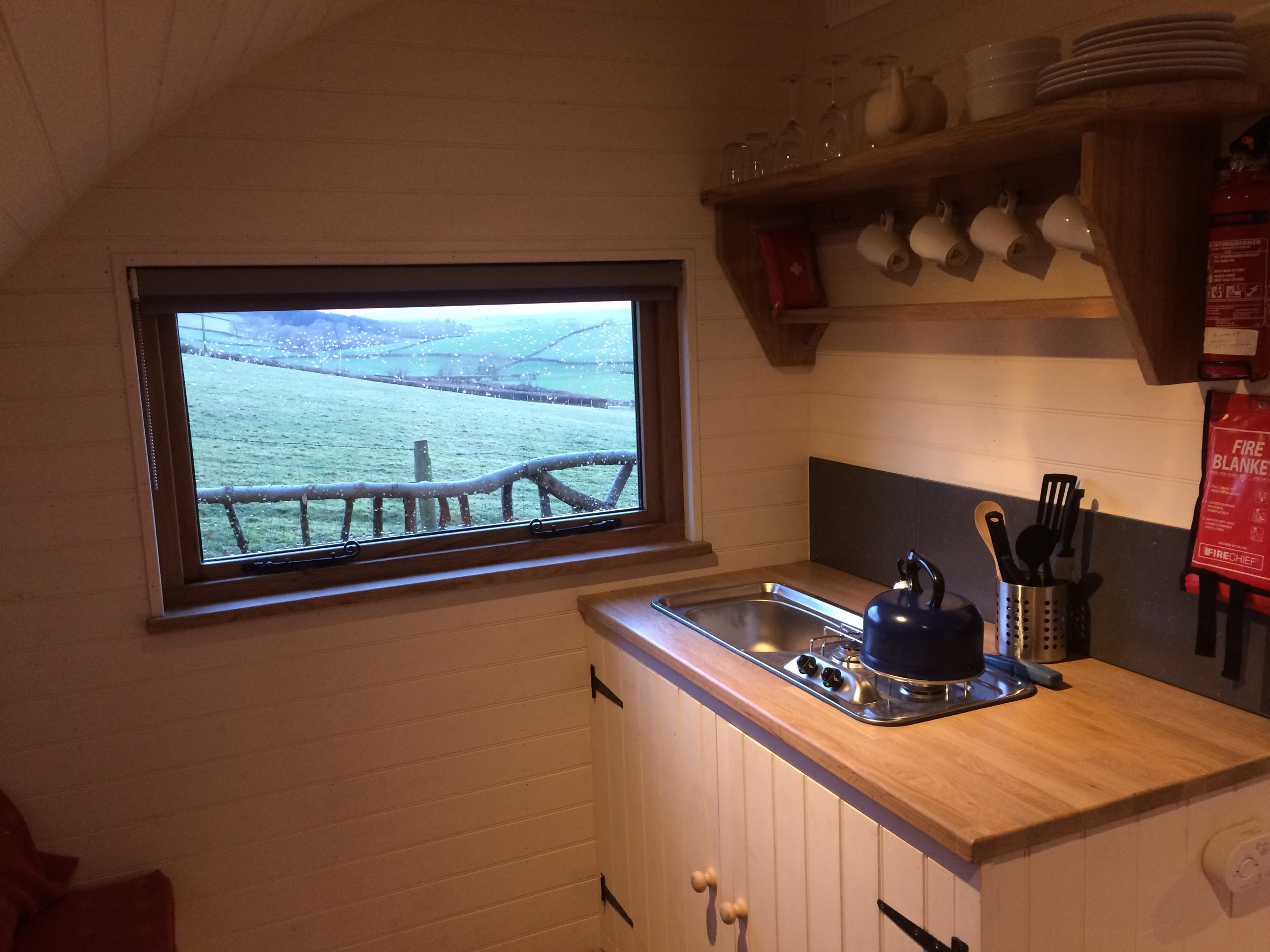 glamping pod with kitchen