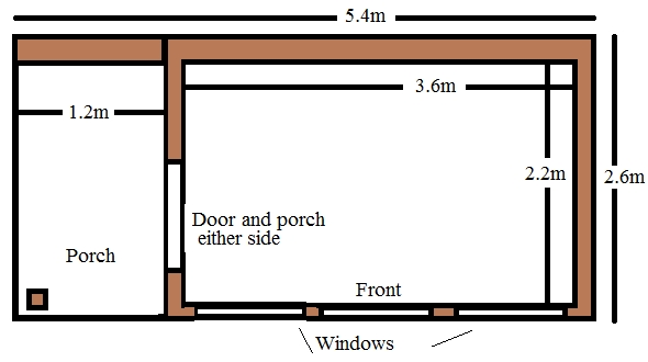 timber garden room with porch and large glazing