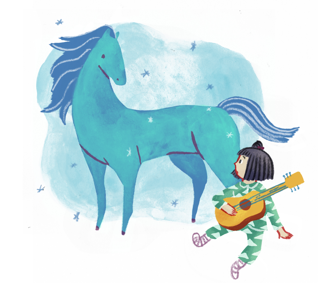 The Blue Horse (2016) - A full color children's book written and illustrated by Celeste Lai & Peyton Skyler. Based on the children's play The Blue Horse which they co-wrote, the book and the play debuted in Shang Hai, China at the Theatre Above summer children's programs in 2016. The play is still touring and showing every summer in China.