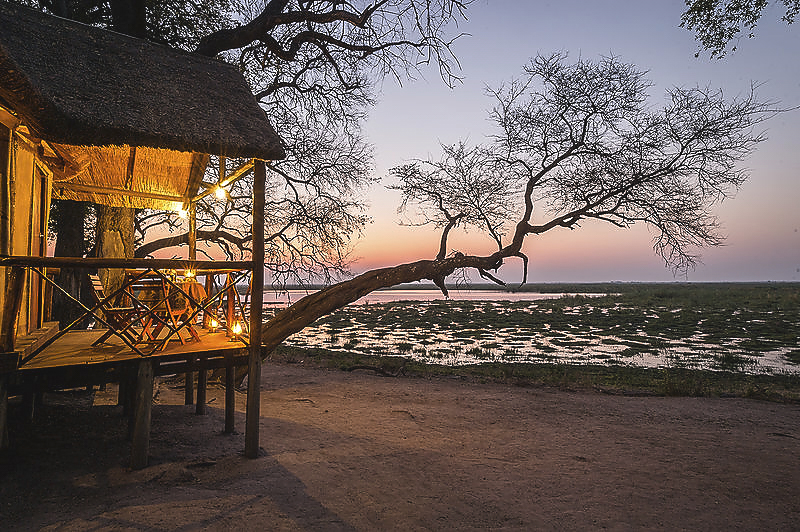 Our Tents - There are 5 individual Meru-style tents that sleep 2 people each. Upon request, a 3rd bed can be arranged. The main area of Camp Linyanti is designed with panoramic views on wooden decks overlooking the lagoons and waterways, where the sky meets the historically contentious Caprivi Strip.