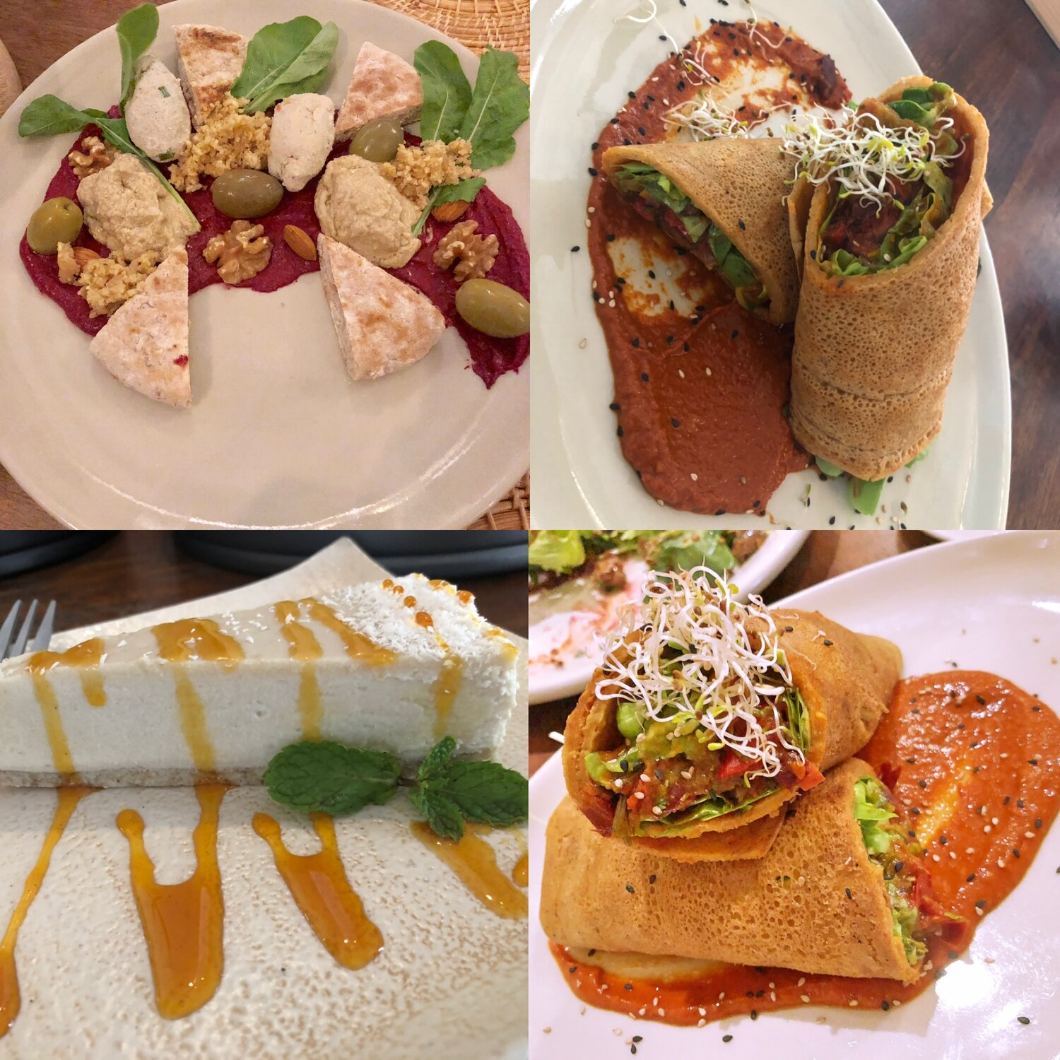 Vegan Cheese board - Chickpea Mexican Wrap - Raw Cheesecake - Healthy Sprout wrap