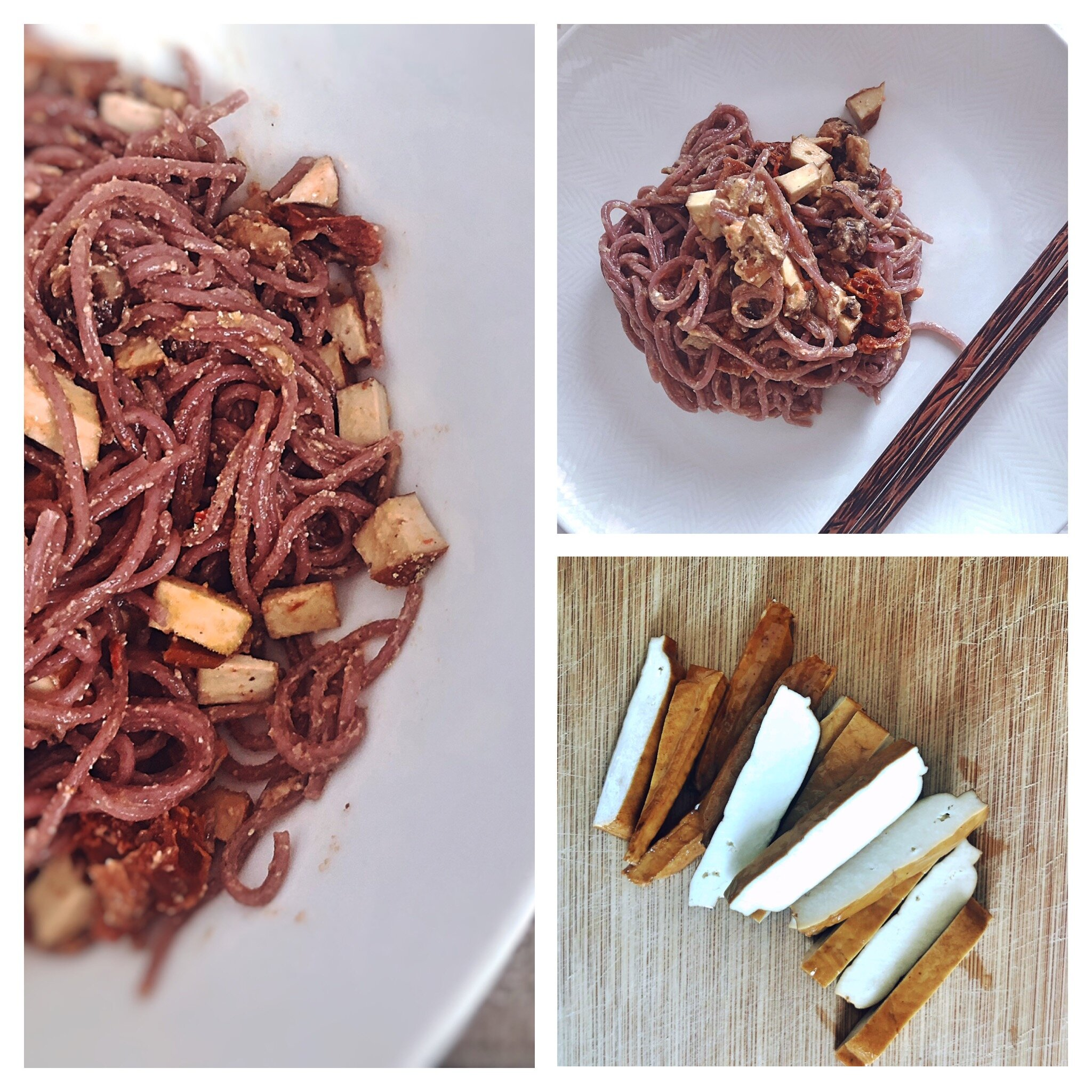 Ingredients: Purple Sweet potato noodles, Smoked hard Tofu (also sold as five spiced tofu), Garlic, tahini, Tamari, nooch, olive oil  Method: Cook the noodles are per the packaging, drain and cool and drizzle with olive oil, Grill the tofu with some sliced garlic (cubed or sliced) until browned. For the Sauce: Combine tahini, Tamari and nutritional yeast into the oiled noodles, adding in the garlic tofu.  Serve along side a crunchy shredded cabbage and carrot salad.