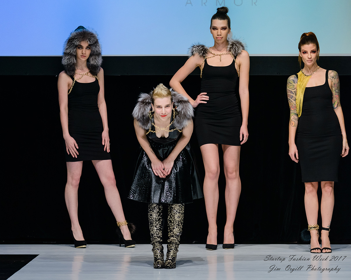 Bianca Cordileone bowing during her collection's finale. (Photo by Jim Orgill / SFW Runway)