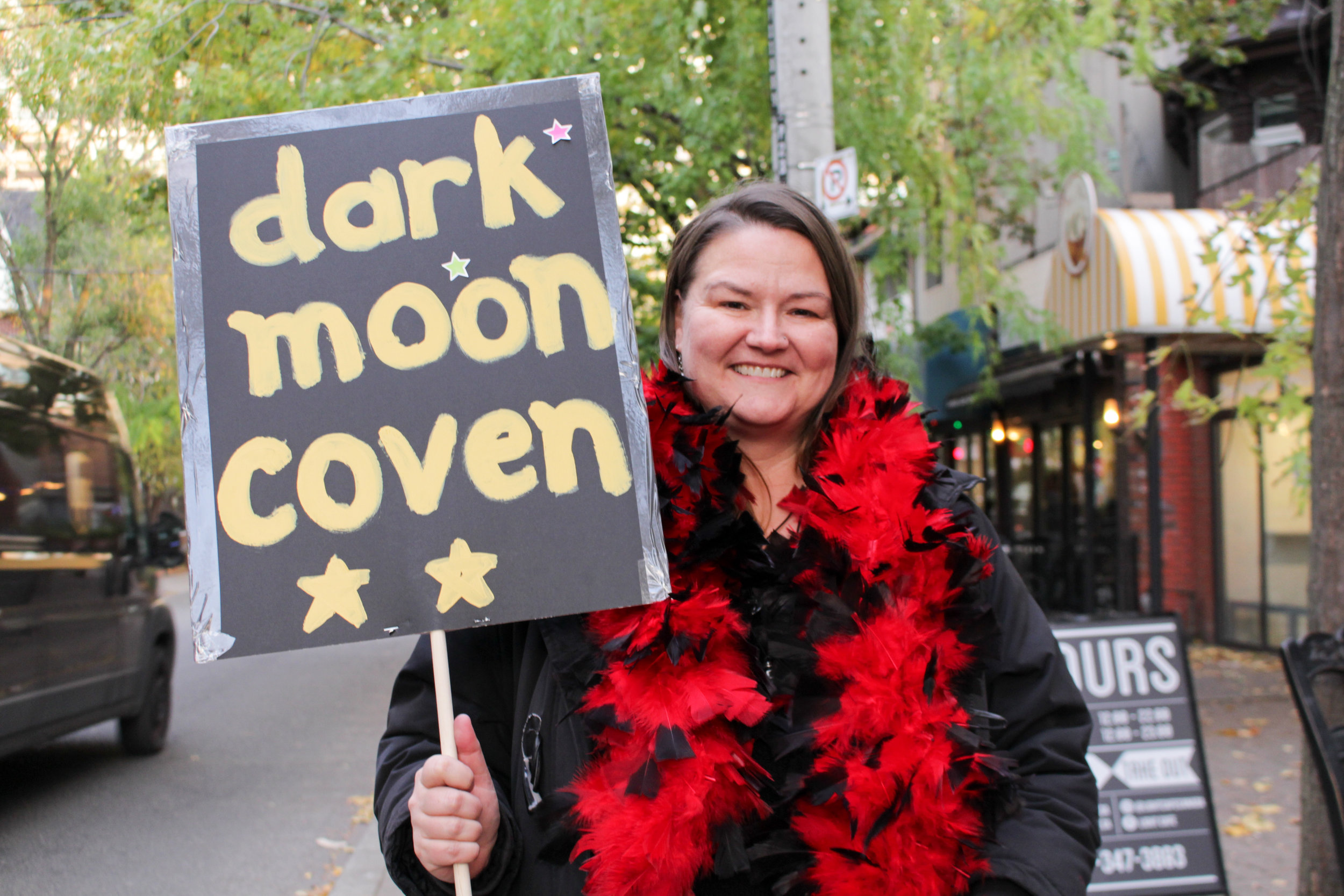 Stephanie Dayes, representing the Dark Moon Coven on the WITCHwalk (D. Dejene).