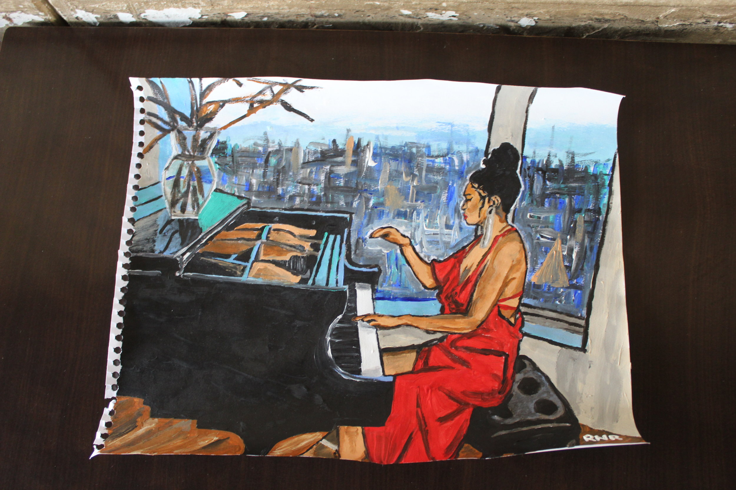 Painting of pianist Chloe Flower (CanCulture/Madi Wong)