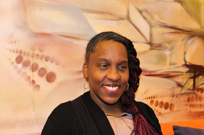 Keya Osborne, 46, worked in fashion, massage therapy, and journalism before finding her job with CNIB in Toronto. Photo: Jacklyn Gilmor/RSJ
