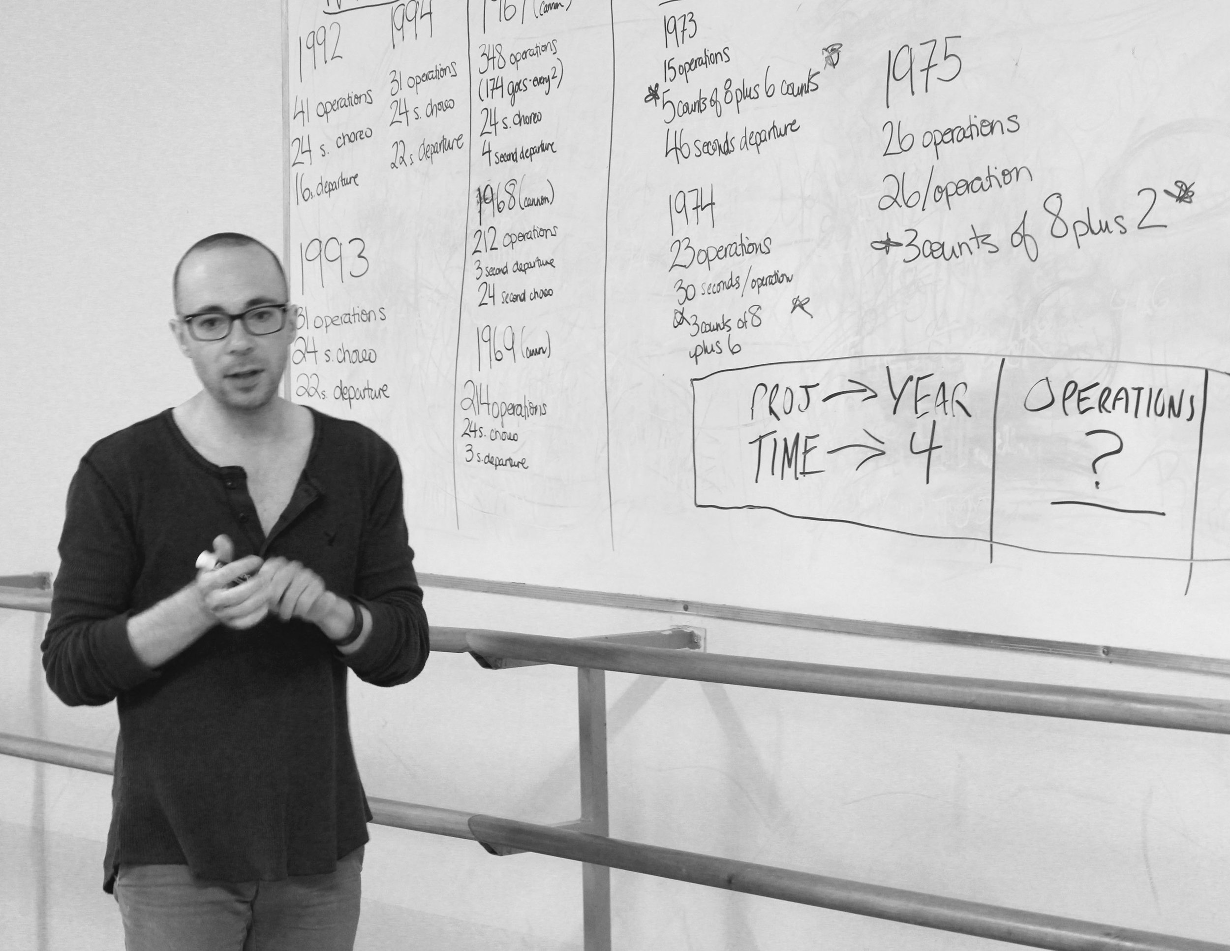Michael Reinhart, co-creator of  Operations  going over the timing of the piece in rehearsal (Photo by: Magdalena Vasko)