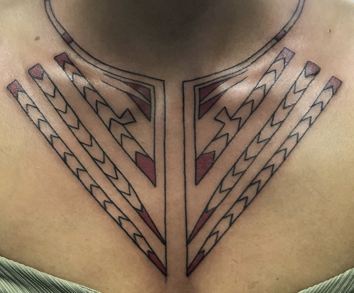 A  custom chest piece  designed by Toby Sicks that was made to symbolize spirituality and ceremony for a customer undergoing a healing journey. According to Sicks, the piece symbolizes the customer's cultural identity of the Kanyen'kehà:ka Mohawk nation. Learn more about this custom tattoo in this  video  by APTN. (Photo courtesy of   Toby Sicks   via Instagram)