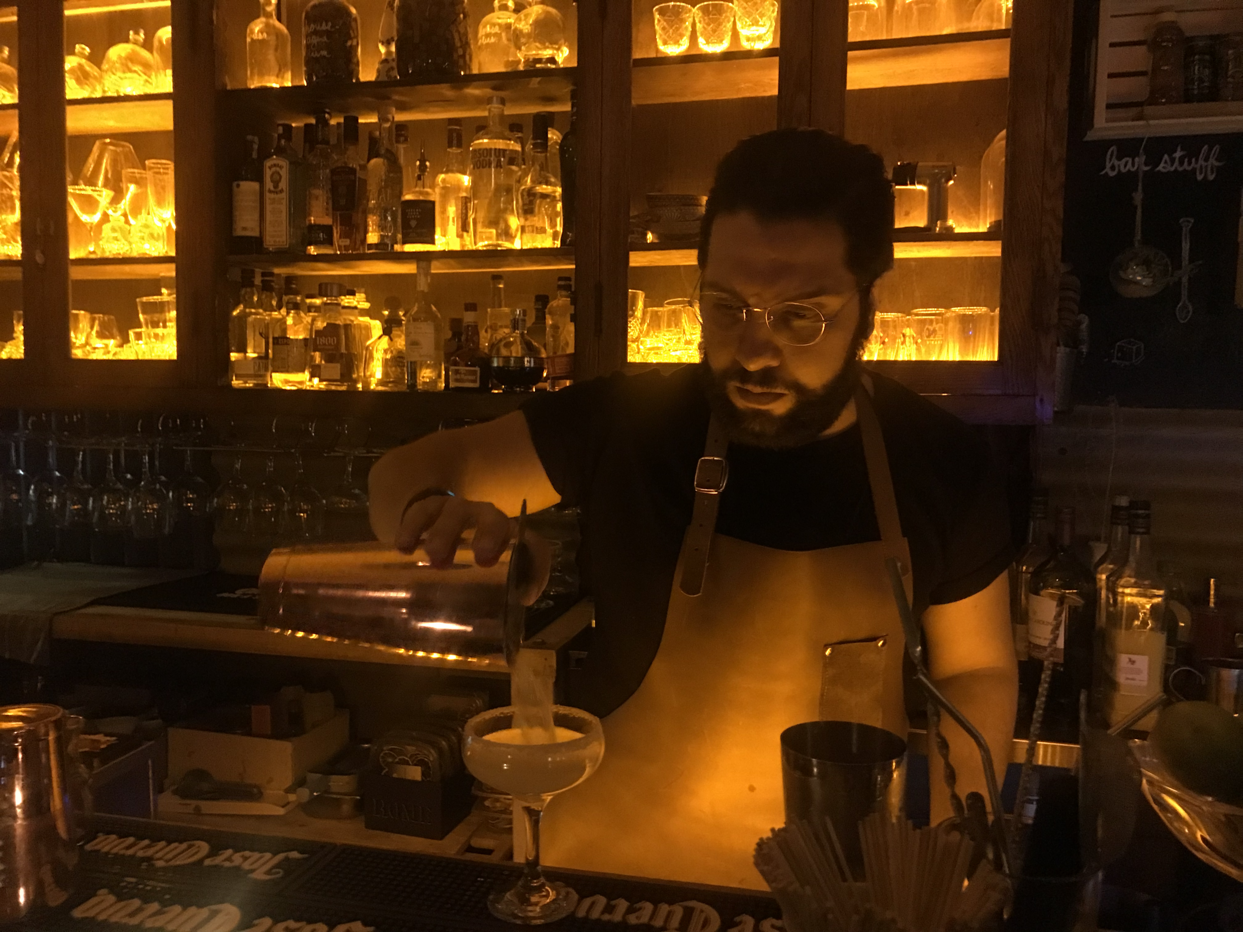 Rafael Bastidas, who immigrated to Canada from Venezuela, currently works as the general manager of Fonda Lola. He is in charge of the front of house operations, and is also the in-house mixologist. (CanCulture/Sophie Chong)