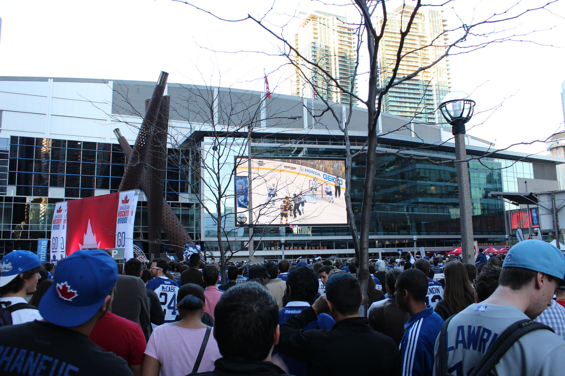 Toronto Maple Leafs fans watch Game 2 between the Leafs and the Boston Bruins in the NHL Eastern Conference Quarterfinals in 2013. (Photo courtesy KatieThebeau/ Wikimedia Commons )