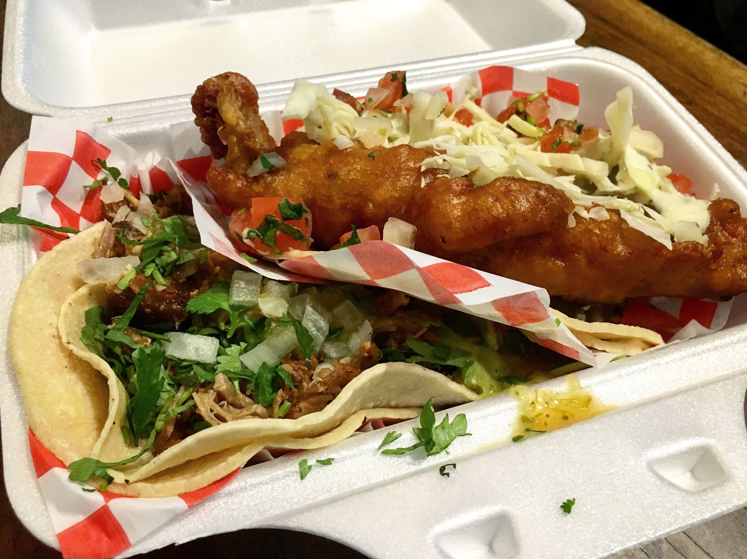 The monstrous fried haddock in the Baja fish taco is encased by its two corn tortillas. You can enjoy your tacos in their quaint shop or take them to go for a delicious on-the-run meal. (CanCulture/Nicole Colozza)