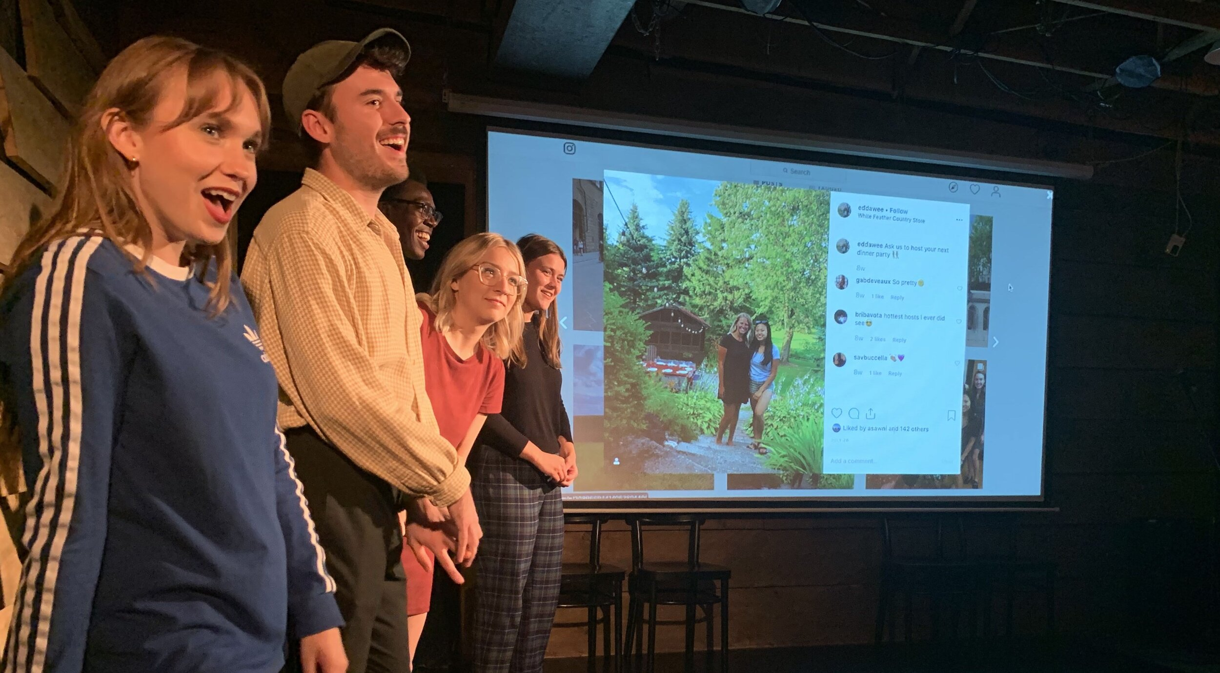 The partial cast of  Liked.  on stage, as they ask questions about an audience member's Instagram. (CanCulture/Alexander Sowa)