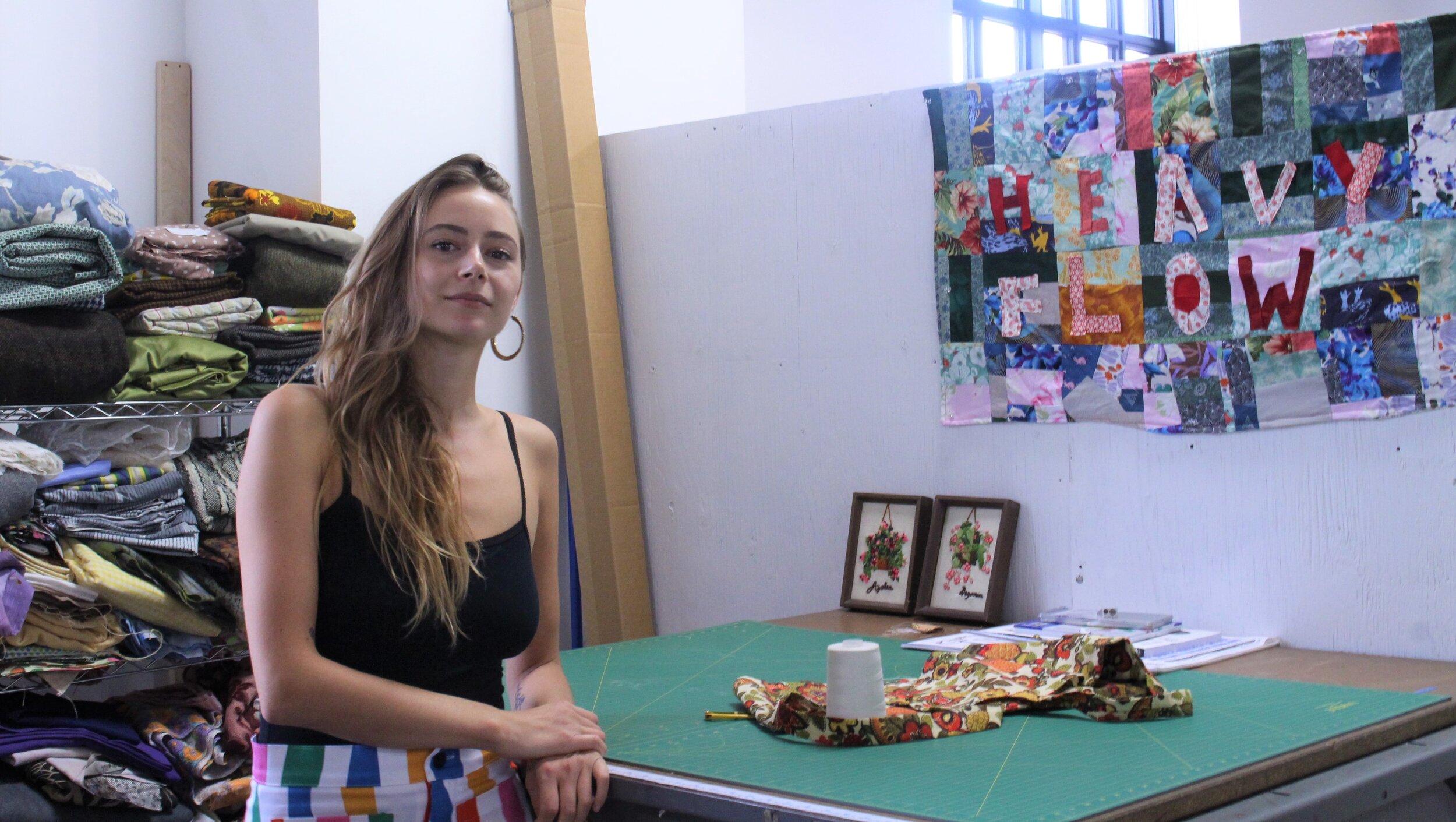 Toronto-based designer Isla Cowan in her studio. (CanCulture/Tina Makuto)