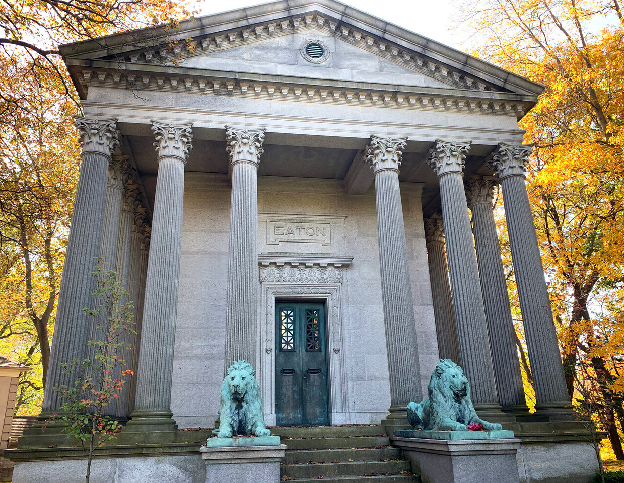 The Eaton family mausoleum towers over Mount Pleasant Cemetery on Oct. 19. (CanCulture/Annemarie Cutruzzola)